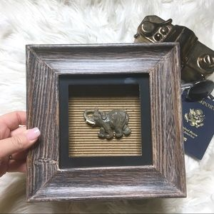 Elephant Brown Black Wood Shadowbox Art  🐘 🖼